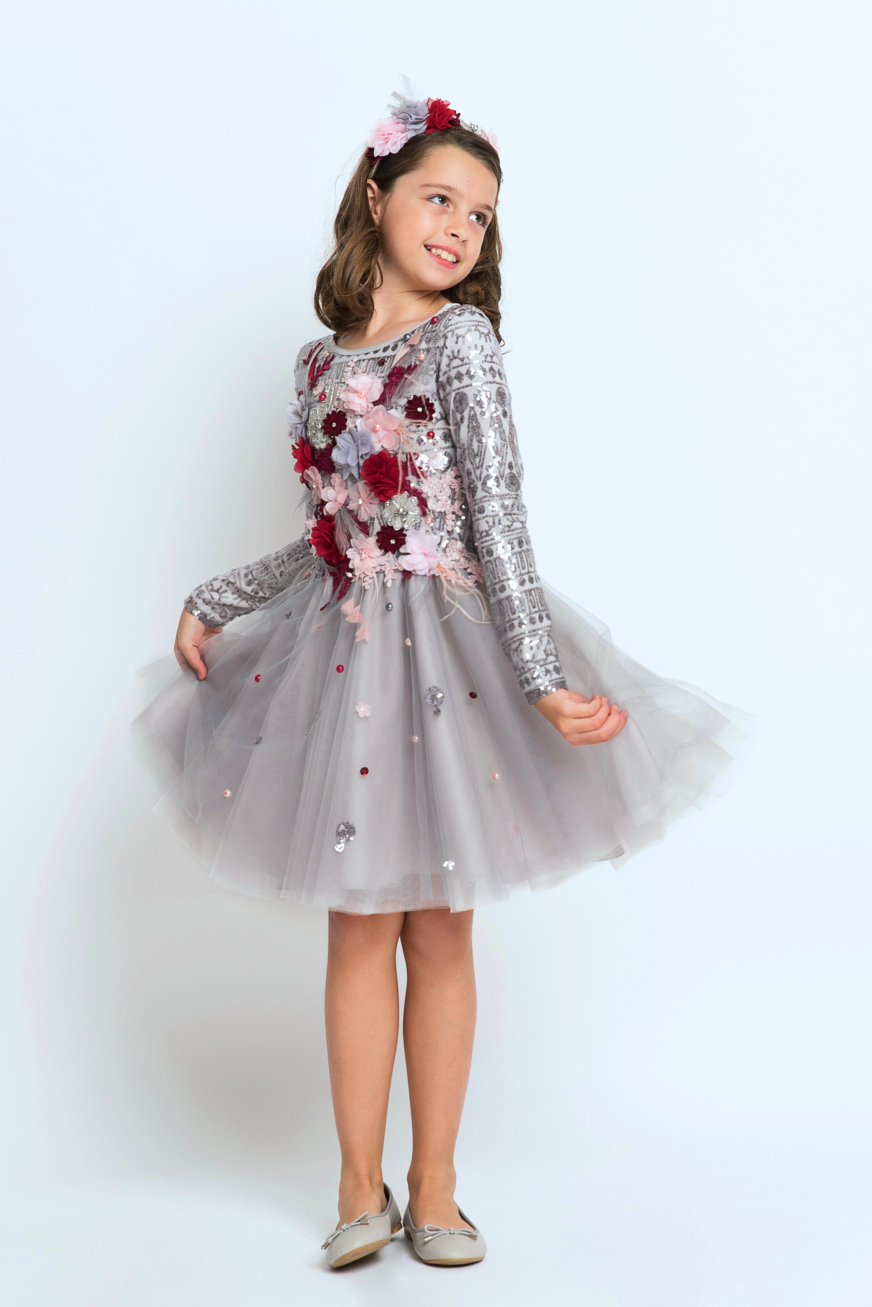 Grey Sequin Girls Dress Hira Design